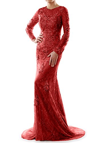 MACloth Women Mermaid Long Sleeve Lace Evening Formal Gown Wedding Party Dress Rojo