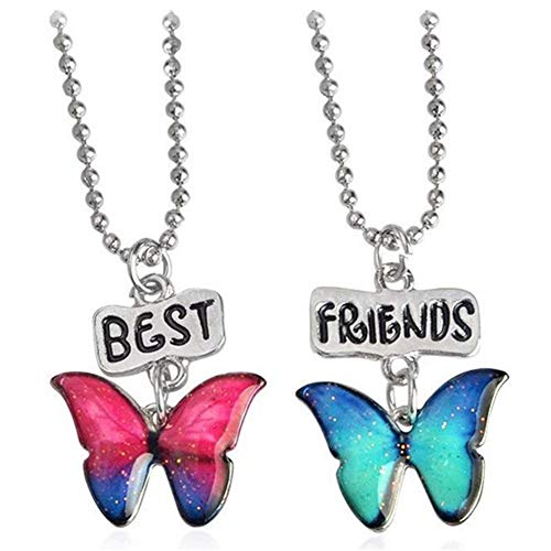 AILUOR 2 Pcs Rainbow Cloud Stitching Best Friends Pendant Necklace, BFF Teen Forever Friendship Birthday Gift (2pcs-Butterfly)