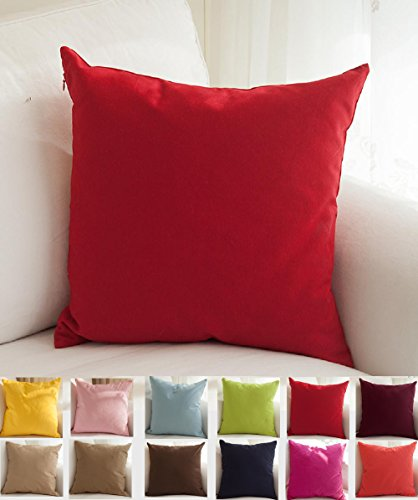 TangDepot Set of 2 Handmade Decorative Solid 100% Cotton Canvas Throw Pillow Covers/Cushion Covers, 45 Colors Available - (18