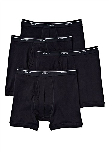 Jockey Men's Underwear Low-rise Boxer Brief - 4 Pack, black, L