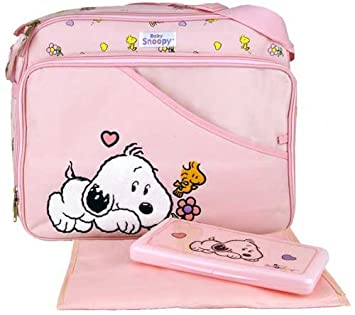 Amazon.com: Bebé Snoopy Large Pink – Bolso cambiador + Wipe ...