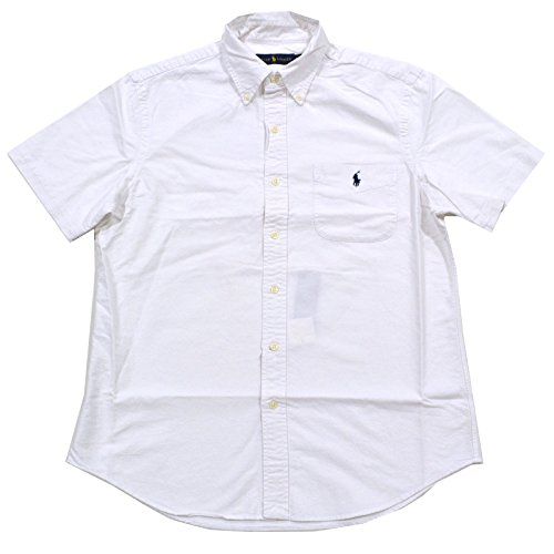 Polo Ralph Lauren Mens Short Sleeve Pocket Buttondown (Medium, White) (Polo Lauren Ralph Pocket)