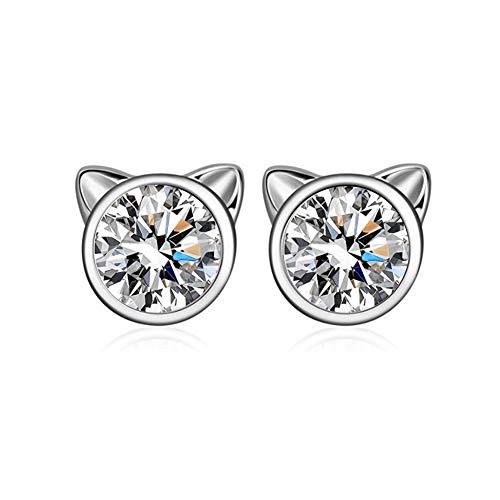 YFN Cat Stud Earrings 925 Sterling Silver Cubic Zirconial Ear Stud Earrings for Girls (April-White Zircon) ()
