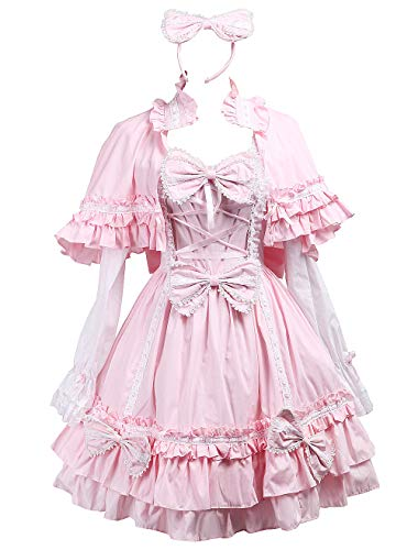 (Antaina Pink Cotton Bows Ruffle Sweet Victorian Lolita Dress with Cape Headware,S)