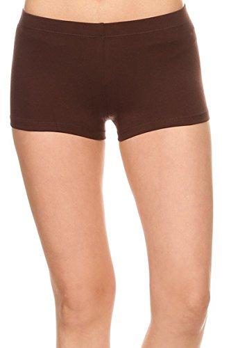 Women's Cotton Stretch Yoga Gym Booty Shorts Pants (S-XL) (Large, Brown)