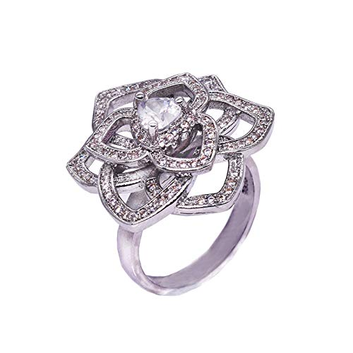 Ring Perfect Heart Diamond - Clearance! Sale! Stylish and Luxurious Diamond Heart Shaped Rose Simulation Diamond Flower Ring Engagement Gifts for Women,Gifts for Boyfriend Under 5 Dollars Valentine's Day Gifts for Girlfriend
