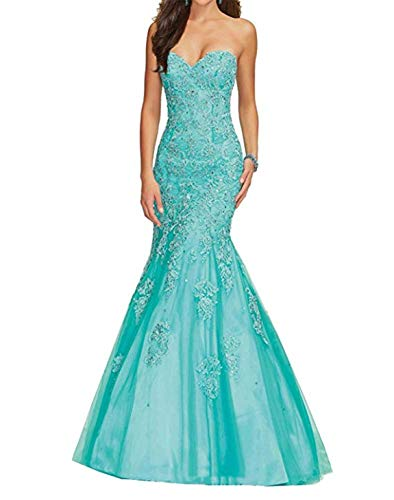 Scarisee Women's Mermaid Sweetheart Beaded Prom Evening Dresses Formal Lace Appliqued Wedding Party Gown Turquoise -