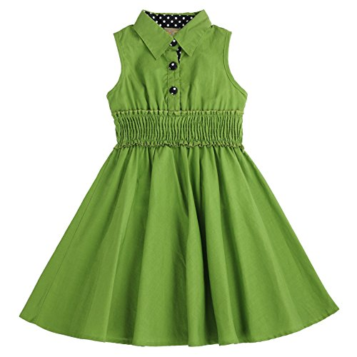 MARIA ELENA - Toddlers and Girls Fiona Gabrielle Soft Cotton Shirtdress in Grass Green 4T
