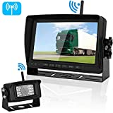"Emmako Digital Wireless Backup Camera and 7"" Monitor System for RV/Truck/5th Wheel/Trailer/Camper IP69K Waterproof Rear/Side/Front Facing View No Distortion Camera Reversing/Driving Use Optional"