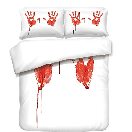 3Pcs Duvet Cover Set,Horror,Handprint Like Wanting Help Halloween Horror Scary Spooky Flowing Blood Themed Print,Red White,Best Bedding Gifts for Family/Friends -
