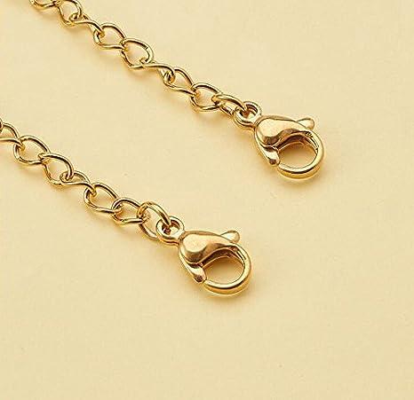 10PCS metallo collana Extender catene gioielli lunghezza bracciale coda a moschettone regolabile con chiusura a clip DIY creazione di gioielli 50 mm Silver