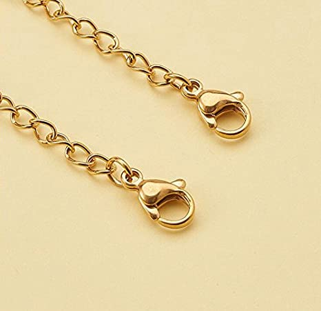 Gold;50mm 10PCS Steel Necklace Extender Chains Jewelry Length Extension Bracelet Tail Lobster Adjust Clip Clasp DIY Jewelry Making Findings