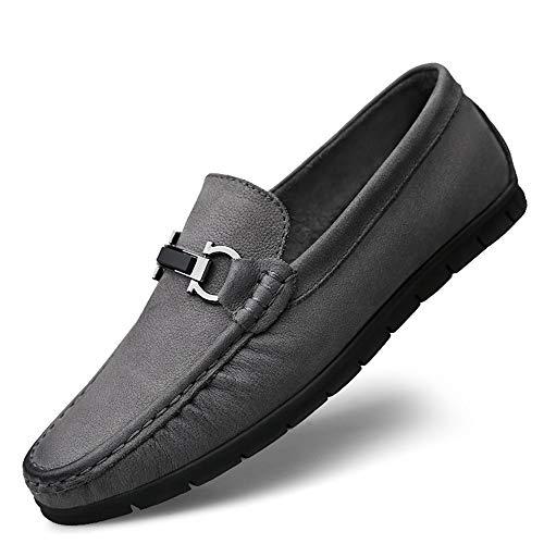 negocios tamaño suave Tamaño 28 23 Zapatos único 0cm Zapatos 0cm de corte gommino Moccasin confortables cuero de pisos gommino de y Gris Mocasín bajo genuinos 43 1 3 Diseño liviano EU de ZdqpHww