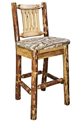 Montana Woodworks Glacier Country Collection Barstool with Back and Sand Pattern Upholstered Seat