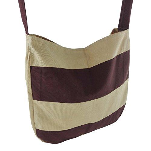 inhoma | Borsa da spiaggia im Tote Bag stil| Shopping Borsa | Brown Cream Liner | Tote Bag stile | 45x 40cm | 12litri | inhoma24WOW Borsa da spiaggia | 100% cotone | lavabile e intemperie