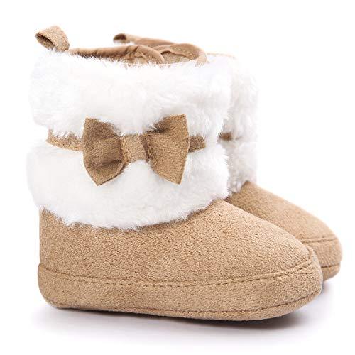 LiveBox Baby Girls' Premium Soft Sole Bow Anti-Slip Mid Calf Warm Winter Infant Prewalker Toddler Snow Boots (Infant Girl Jordan Crib Shoes)