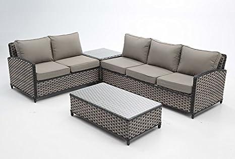 Set sofas terraza y jardin rattan marron Gala: Amazon.es: Jardín