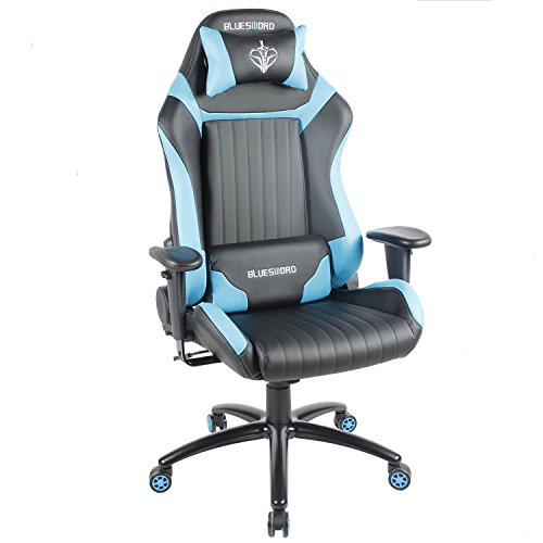 BLUE SWORD Leather Computer Gaming Chair Large Size Office Chair Racing Style High-back Adjustment Ergonomic Design With Lumbar Support and Headrest Blue, BS003 Review