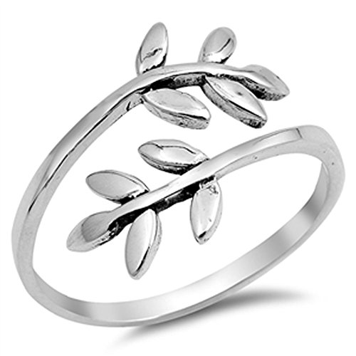 Vines Ladies Ring (Open Leaf Branch Tree Vine Women's Ring New .925 Sterling Silver Band Size 10)