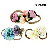 IEUUMLER Elastic Flower Baby and Newborn Girls Floral Props Headband-Set of 2 Hair Accessories (B)
