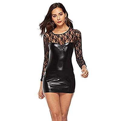 Lianmusi Leather Lingerie for Women, Women Long Sleeve Lingerie Plus Size Lace Leather Skirt Sexy for Ladies