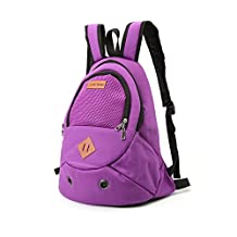 Dog Backpack Samll Pet Frontpack Double Should Sling Carrier Bag Outdoor Hands free for Pet Weight Up to 8.8lbs (purple)