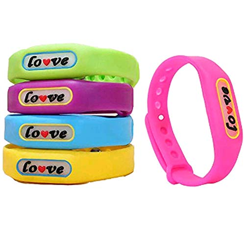 Price comparison product image Mosquito Repellent Bracelets - Effective All Natural 100% Plant Based Insect Repellent Silicone Bands,  Natural Deet-Free Waterproof Travel Camping Insect Repellent Bands - Pack Of 5Random Color