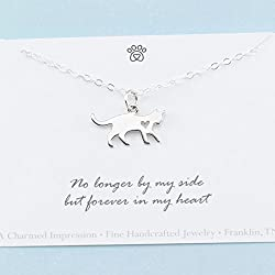 Cat Memorial Necklace • 925 Sterling Silver • Sympathy Gift • Remembrance Jewelry