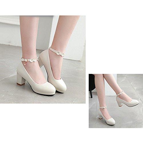 tacchi female Shoes Single estate lavorano 36 Bianco scarpe sandali dolci long230mm con fiori da Colore primavera dimensioni Rosa shoes donna wwq8RC