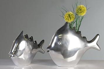 Amazon.de: 2 edle Fische Fischvasen Aluvase Vase Skulptur Figur ...
