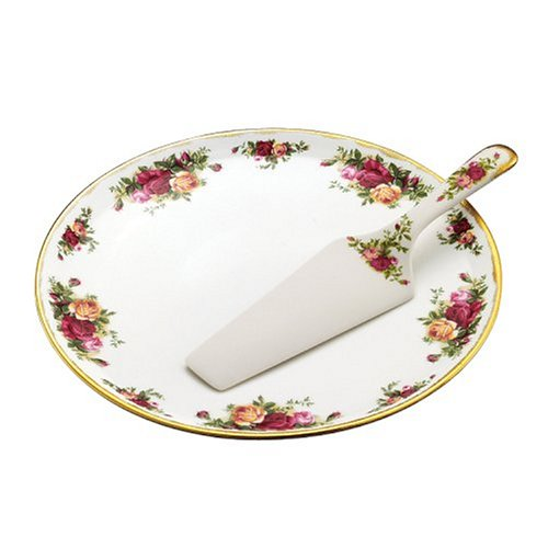 Bloom Round Serving Plate - Royal Albert Old Country Roses Cake Plate with Server