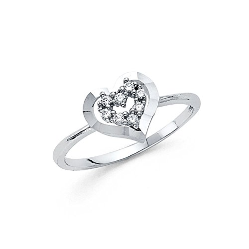 [1.5mm 14K Engagement Ring in White Gold 0.2 ct with Heart shaped Stone Size 5] (0.2 Ct Heart)