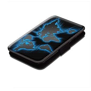 Mapas 002, Mundial Brillante, Negro Cuero de la PU Caso, Flip Soporte Protección Carcasa con Cierre Magnético para Samsung Galaxy S4