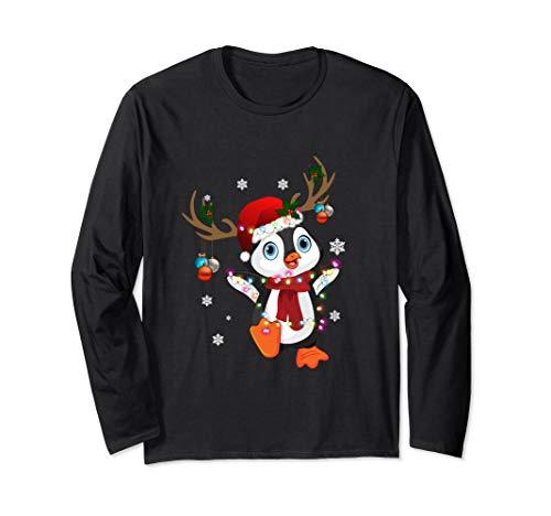 Cute Penguin Reindeer Merry Christmas Gift For Animal Lovers Long Sleeve T-Shirt (Merry Christmas Land Ls)