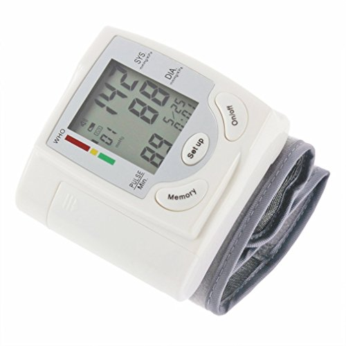 Buwico Portable Automatic Digital LCD Display Wrist Blood Pressure Monitor Device Heart Beat Rate Pulse Meter Measure Tonometer White