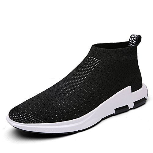 IceUnicorn Mens trainers Slip on Lightweight Running Shoes Outdoor Breathable Sneakers Casual Walking Shoes(Black,9UK)
