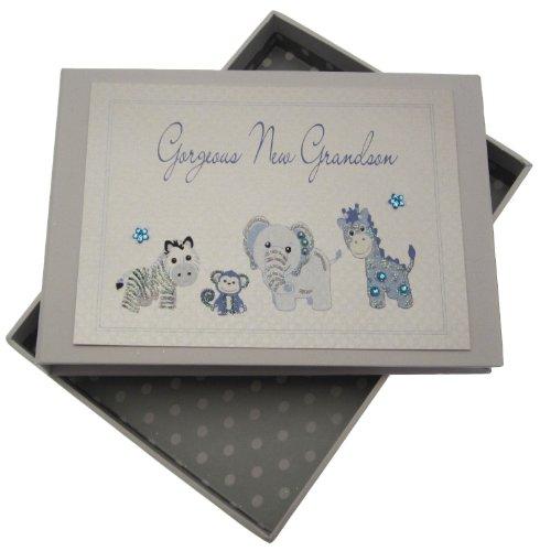 [해외]화이트 코 튼 카드 수 제 화려한 손자 작은 사진 앨범 (블루) / White Cotton Cards Handmade Gorgeous Grandson Tiny Photo Album (Blue)