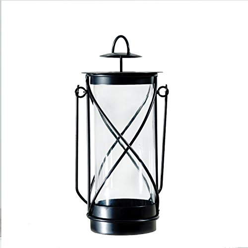 Adeco Decorative Iron Vertical Table Standing Candle Pillar Holder, Antique Vintage hand lantern Light Style, Classy Home Decor Accents