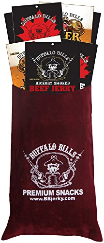 Buffalo Bills 7-Piece Premium Beef Jerky Sampler Burgundy Velour Wine Gift Bag (seven 1.5oz packs) -  Choo Choo R Snacks, Inc.