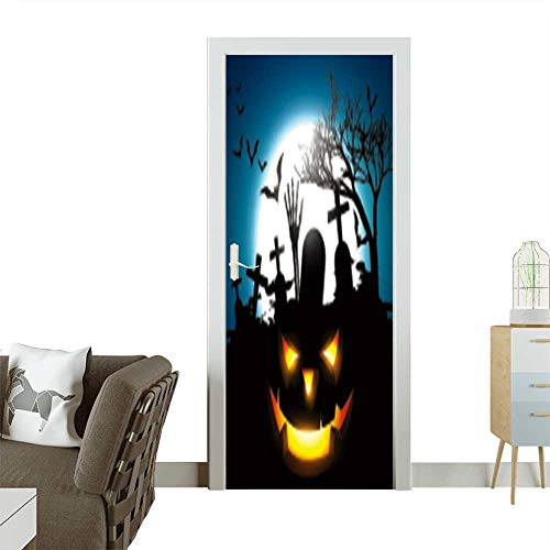Door Sticker Wall Decals Halloween Vector Design Background Easy to Peel and Stick W38.5 x H79 INCH ()