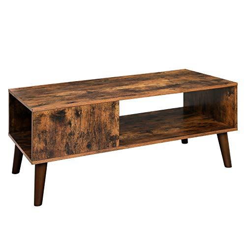 VASAGLE Retro Coffee Table, Cocktail Table, Mid-Century Modern Accent Table with Storage Shelf for Living Room, Reception, Easy Assembly, Brown, ULCT09BX
