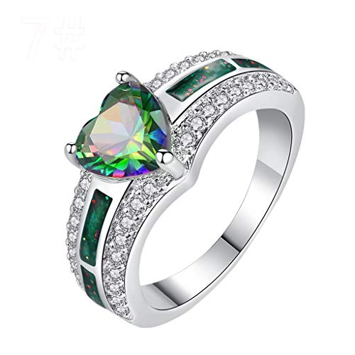 FEDULK Women Wedding Statement Promise Rings Fashion Rhinestone Lovers Heart Shaped Jewelry Rings(8, Green)