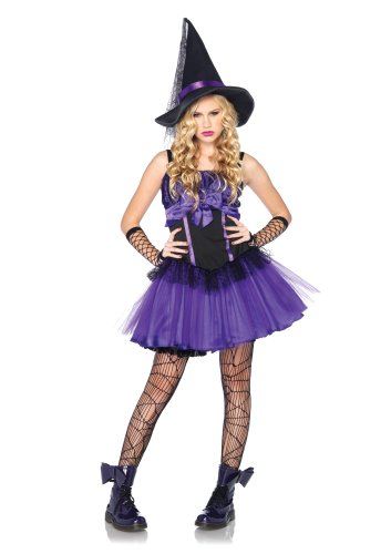 Leg Avenue Costumes 2Pc.Wicked Witch Petticoat Dress with Web Bodice and Hat, Black/Purple, Small/Medium (Wicked Witch Fancy Dress)