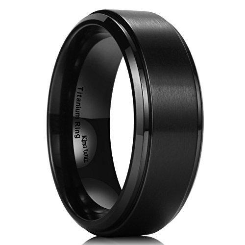 King Will Basic Men 8mm Matte Brushed Black Titanium Wedding Ring Stepped Beveled Edge Comfort Fit Wedding Band 7 ()