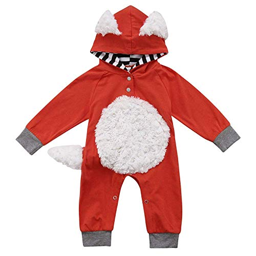 Younger tree Newborn Baby Halloween Jumpsuit Boys Girls Long Sleeve Fox Romper Onesie Outfit Clothes,Orange,0 3 -
