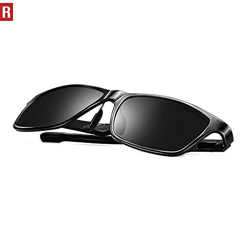 ROCKNIGHT Rectangular Sunglasses for Men Wayfarer Polarized Driving Sunglasses Metal Frame UV Protection Al-Mg Lightweight Grey by ROCKNIGHT (Image #4)