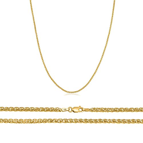 Orostar 14K Solid Yellow Gold 1mm Diamond Cut Wheat Chain - 16