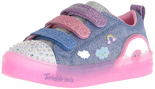 - Skechers Kids Girls' Shuffle Brights-Rainbow Glow Sneaker, Denim/Multi, 13 Medium US Little Kid