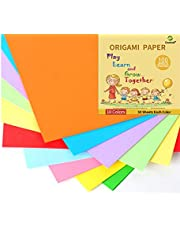 24lb 10 x 10inch 10 Colored Origami Paper Handmade Folding Paper Square Paper for Kids School DIY and Arts & Crafts,100sheets