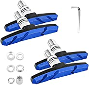 Bike Brake Pads, Bicycle 2 Pairs Brake Blocks Set, 70mm Bike V Brake Pad with Spacer and Hex Nuts - Blue
